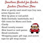 Reader Leaders Christmas Store Wish List