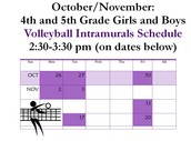 Grade 4-5 Volleyball Dates
