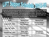 LIFT Supper Schedule