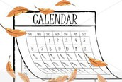 My Calendar for the Week of Oct. 18-21