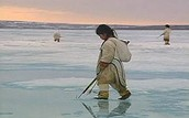 Child fishing with harpoons