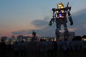 This is a robot in Japan as a landmark, The Shizuoka Gundam