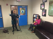 Sara Wheeler answering questions for WLTX story on school choice.
