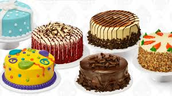 Variety of decorated cakes