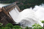 Dam flowing for Electricity