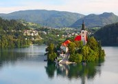 This is Lake Bled with the church in the middle