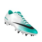 Blue and white Nike soccer cleats