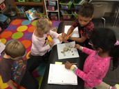 Studying the rock properties after our rock hunt!