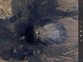 De calderavulkaan vanaf de bovenkant