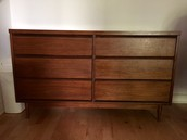 Mid century 6 deep drawer dresser $300