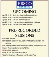 Upcoming EBSCO Trainings