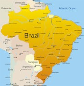 Map of Brazil and it's surronding countries