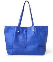 paris market tote - genuine leather, cobalt