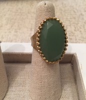 Gold Green Stone Ring - Size 6 - Originally $49 - Sale $25