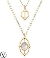 Fortuna Stone Pendant Necklace - Gold $50.36