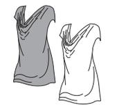 Cowl Neck Basic Top - Grey/Size XL - White/Size M