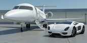 My private jet and sports car.