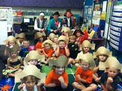 HS Students reading to kindergarten students on Pirate Day!