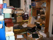 A cluttered & untidy store room