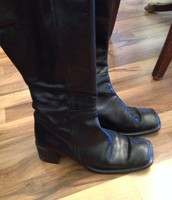 Black Leather size 7M wide leg opening boots. $10 OBO