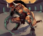 The Minotaur with weapons