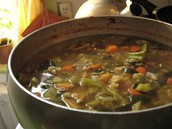 bread, cheese, pottage- think vegetable soup and ale some times meat or fish was added