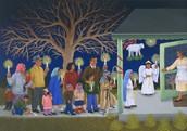 Una pintura de que celebran Las Posadas