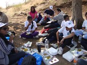 Staff and Students sharing a meal at Fort Lohagad