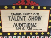 Talent Show - March 11th with Auditions on 1/14 & 1/20