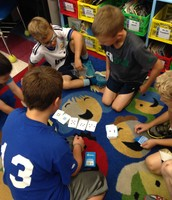 Boys playing math games
