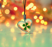 Clover in a heart necklace