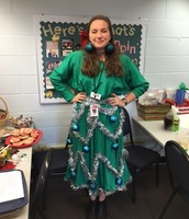 Miss Morrow dressed up as a Christmas tree today!