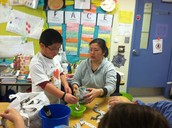 Jerome creating his paper mache' globe