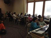 Keyboarding skills in the music room!