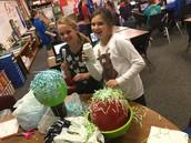Making confetti bowls!