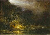 Nocturnal landscape with the Holy Family