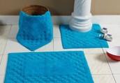 100% Cotton Check Border Turquoise Bath Mat Set