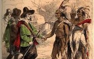 Pilgrims and Indians shaking hands