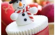 Vanilla snowman cupcake