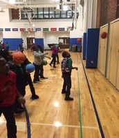 Second graders working on passing!