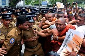Buddhist Monk Protesting Against Sinhalese