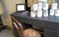 a desk & an antique  chair