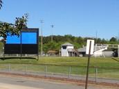 Football field and scoreboard