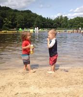 Sharing a snack at Sunrise Lake