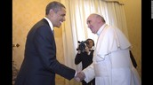 Pope VIII shaking hands with Obama