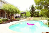 gorgeous pool . firepit   pergola .  mature trees