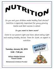 Wilson Middle School Parent Workshop - Nutrition
