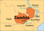 Zambia on the map