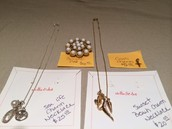 """17"""" Necklaces for $20 & $25, brooche pin for $10 and bronze cross charm for $5"""