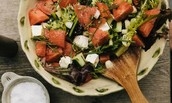 Finnish salad with orange blossom dressing